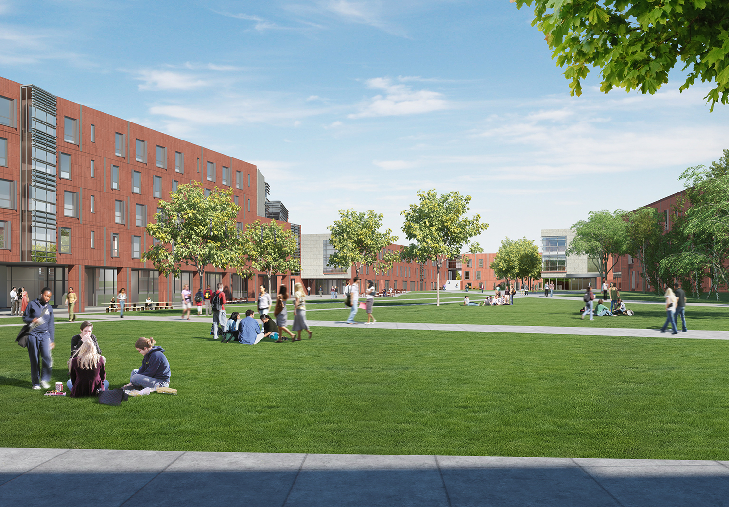 Rendering of first-year student site courtyard with students engaging