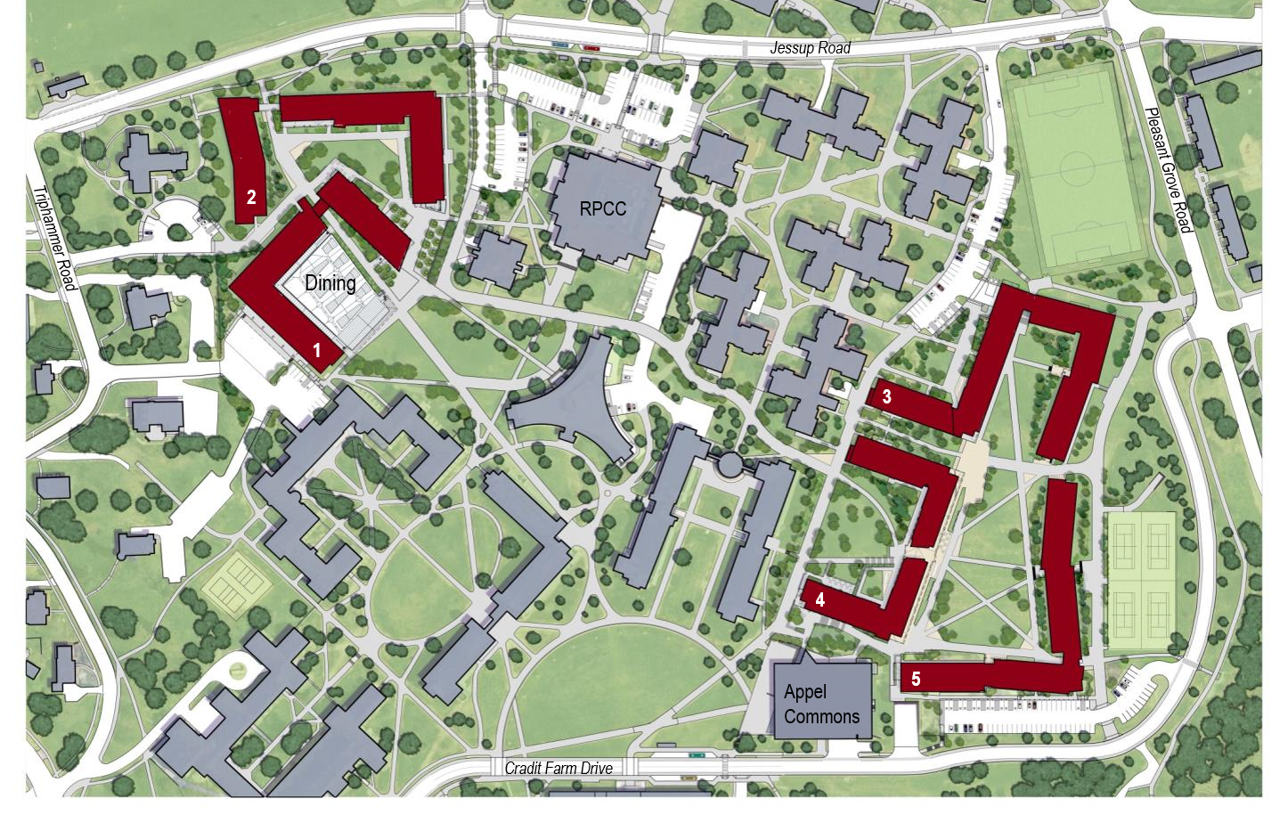 Site map outlining where the NCRE developments will be built on north campus. Top left corner near Jessup Rd. and bottom right corner near Appel Commons and Cradit Farm Drive