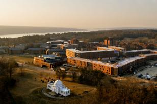 Aerial view of North Campus overlooking Cayuga Lake